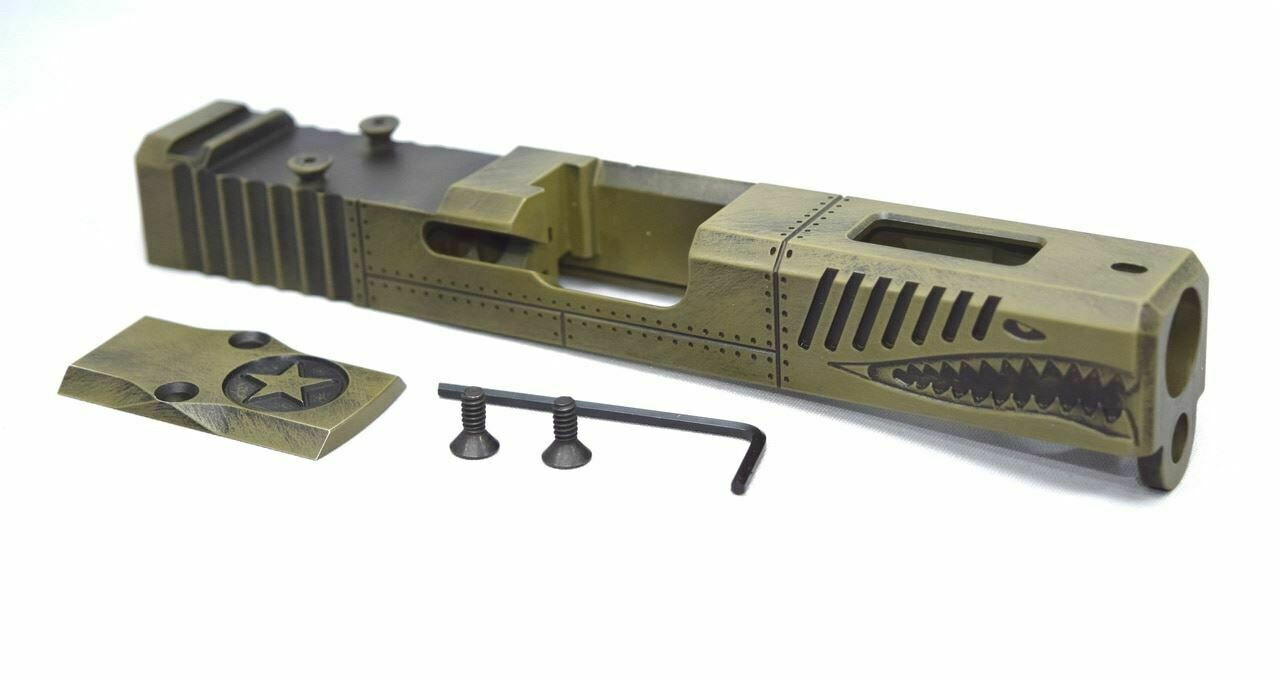 Glock 19 Gen 3 Warhawk Battleworn Green slide RMR Cut Poly 80