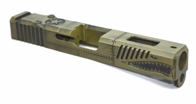 Warhawk Battleworn Green Slide - Glock 19 Gen 3 P40 - RMR Cut Poly 80