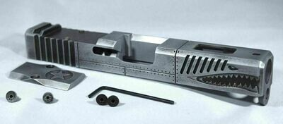 Glock 19 Gen 3 P40 Warhawk Battleworn Gray  slide RMR Cut Poly 80