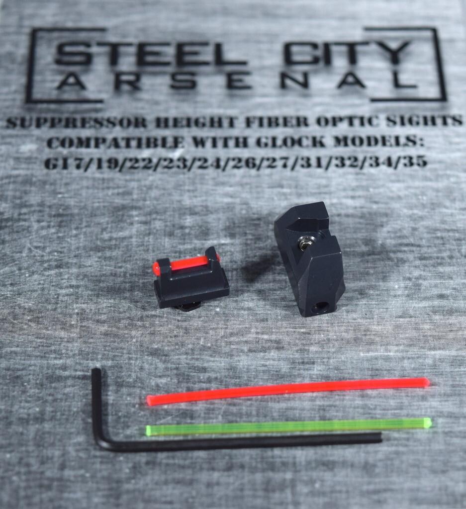Steel City Arsenal Suppressor Height Fiber Optic Sights For Glock 17/19/22/23/24/26/27/31/32/34/35