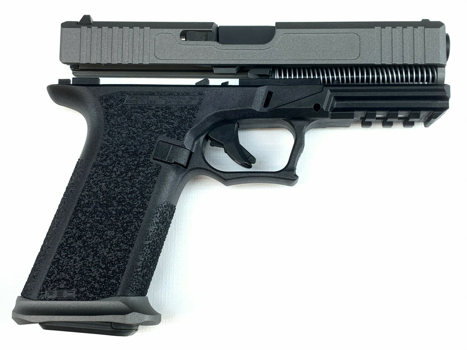 Patriot G17 80% Pistol Build Kit 9mm - Polymer80 PF940V2 - Tungsten Silver / Black - Steel City Magwell - 10rd Mag Or 17rd Mag