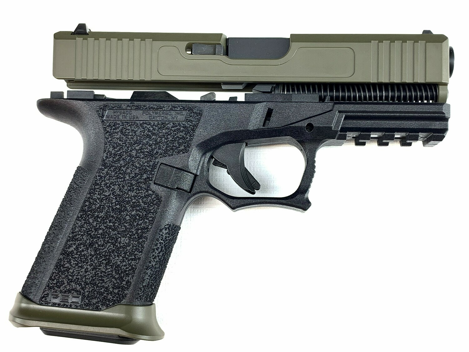 Patriot G19 80% Pistol Build Kit 9mm - Polymer80 PF940C Black - OD Green Slide - Steel City Arsenal Magwell OD Green - 10rd Mag