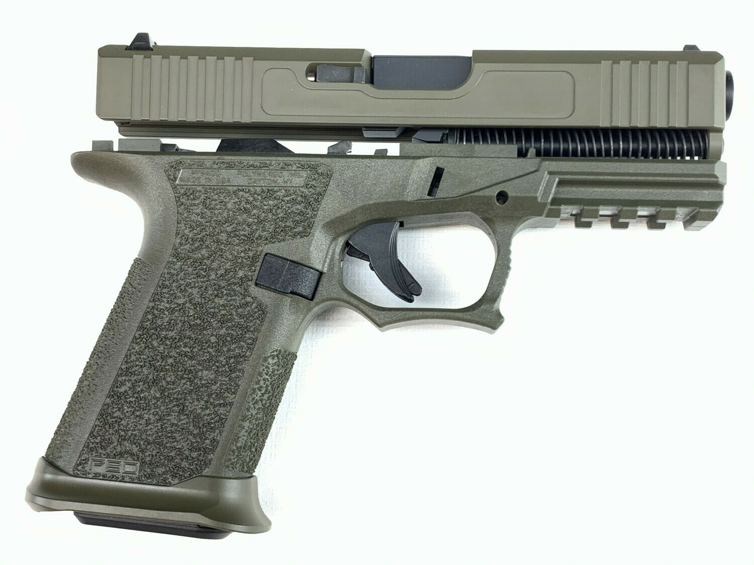 Patriot G19 80% Pistol Build Kit 9mm - Polymer80 PF940C - OD Green - Steel City Arsenal Magwell OD Green - 10rd Mag