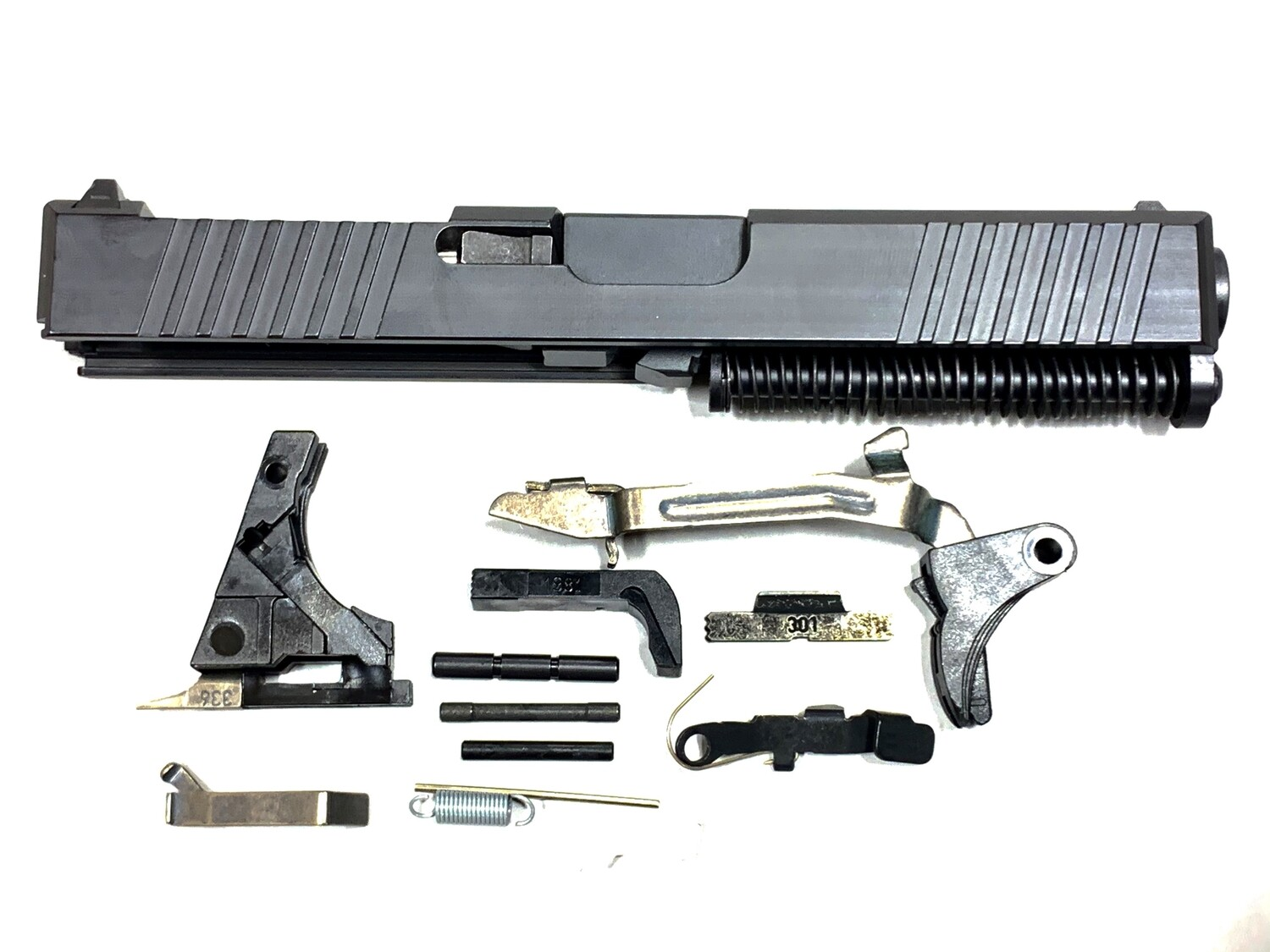 Glock 19 Complete Built Slide w/ Rear & Front Serrations - RMR Trijicon Cut - Color Black - Comes With Glock OEM Lower Parts Kit - Free Shipping