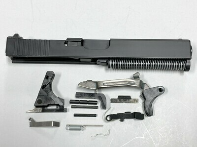 Glock 17 Complete Built Slide w/ Rear Serrations - RMR Trijicon Cut - Color Black - Comes With Glock OEM Lower Parts Kit - Free Shipping
