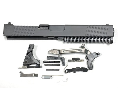 Glock 17 Complete Built Slide w/ Rear & Front Serrations - RMR Trijicon Cut - Color Black - Comes With Glock OEM Lower Parts Kit - Free Shipping