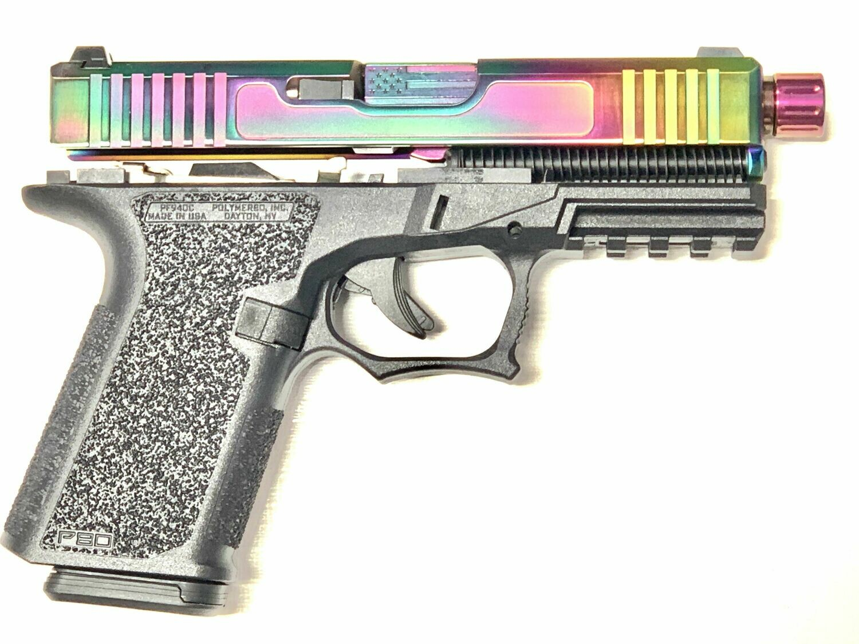 Patriot G19 80% Pistol Build Kit - Polymer80 PF940C - Black & Rainbow Chameleon - Flag Barrel