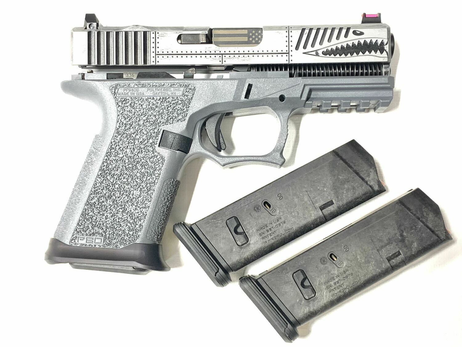Glock 19 P40 Warhawk Battleworn Gray - 80% Polymer80 Frame Pistol Kit - Comes With 3 Magpul 10rd Magazines