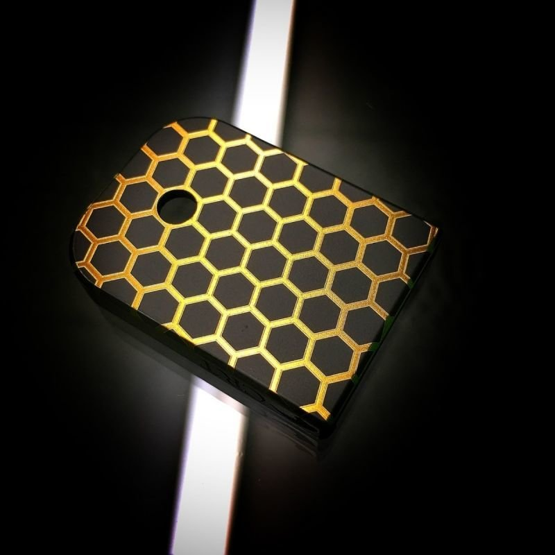 Honeycomb Gold - Titanium Mag Plate - Black Cerakoted