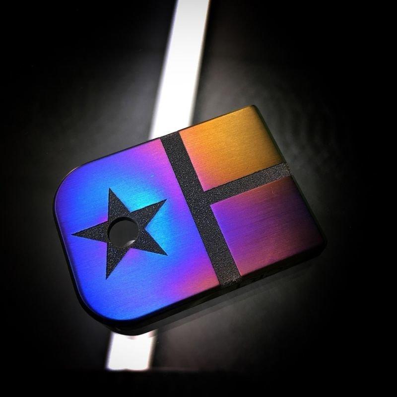Texas Flag Flame Anodized - Titanium Mag Plate