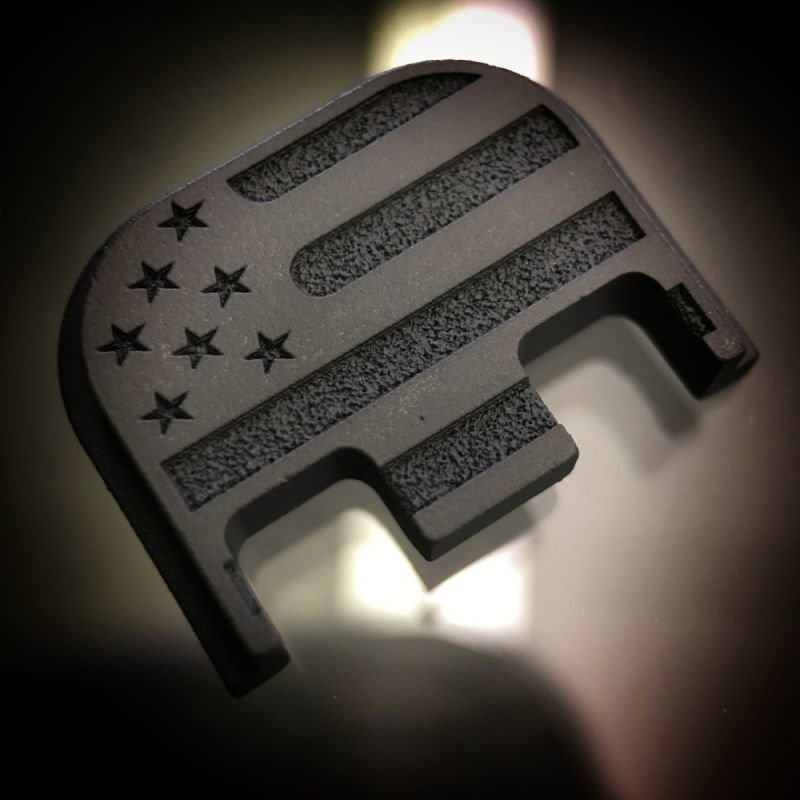 American Flag - BLACKOUT - Titanium Back Plate