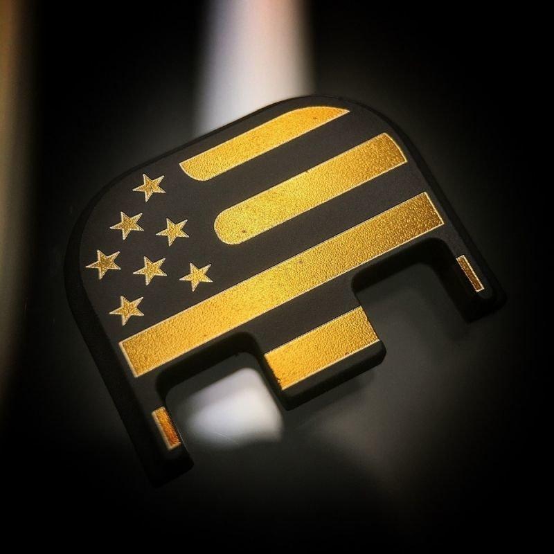 American Flag - Titanium Back Plate - Gold - Black Cerakoted