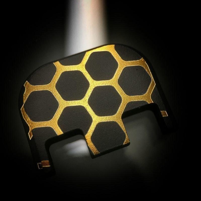 Honeycomb - Titanium Back Plate - Gold - Black Cerakoted