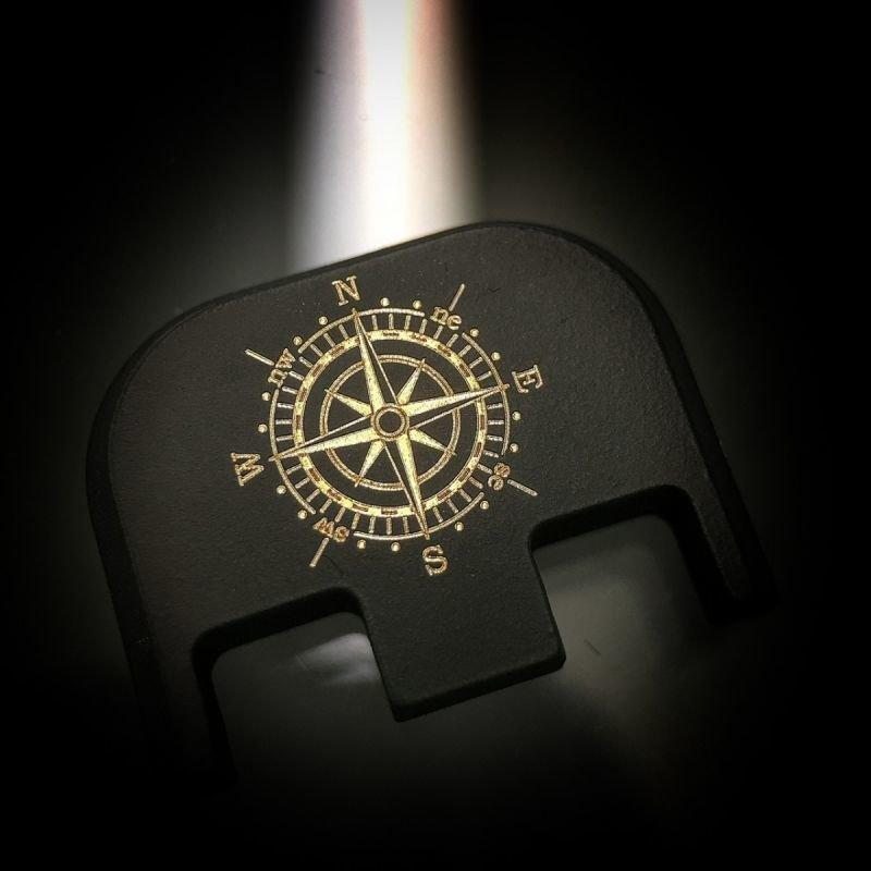 Gold Compass - Black Cerakoted Titanium
