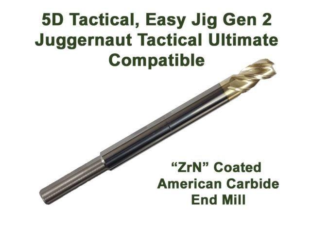 High Performance Enhanced ZRN Coated Carbide End Mill Compatible w/ 5d Tactical - Easy Jig Gen2 & Juggernaut Tactical