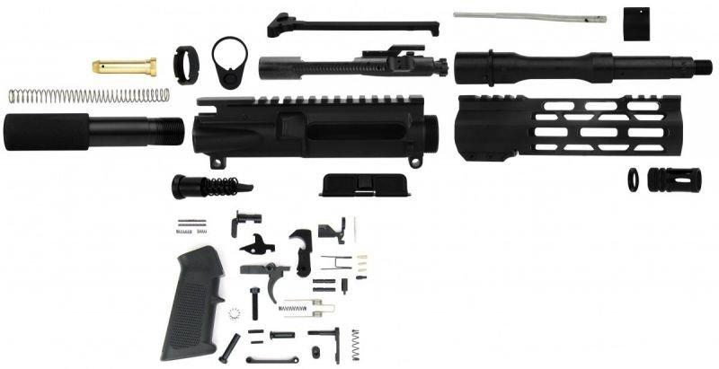 "Unassembled AR-15 Pistol Kit - 5.56 NATO 7.5"" Barrel, BCG, Charging Handle & Lower Parts Kit"