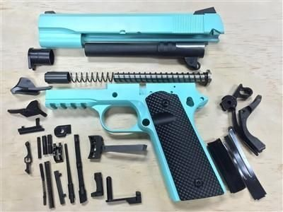 1911 Tactical 80% Builders Kit 9mm or .45 ACP Tiffany Blue Cerakote