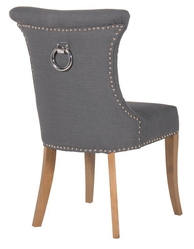 Pleasing Dove Grey Linen Dining Chair With Knocker Detail Gamerscity Chair Design For Home Gamerscityorg