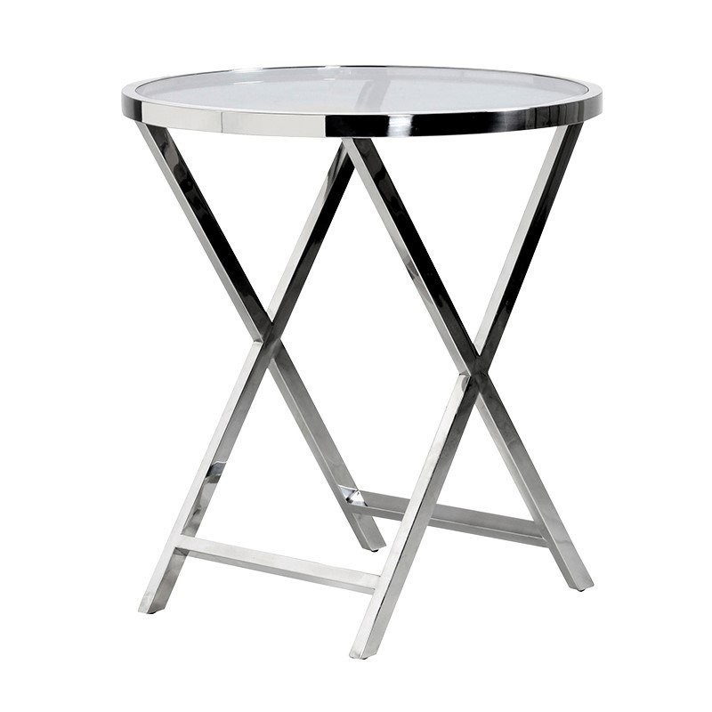 ROUND GLASS X-FRAME SIDE TABLE