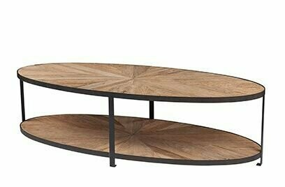 Parquet Top Oval Coffee Table