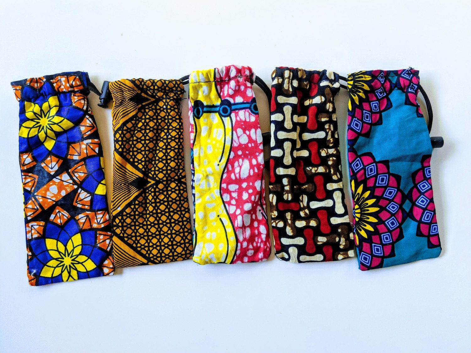 African Fabric Sun Glass Drawstring Pouch