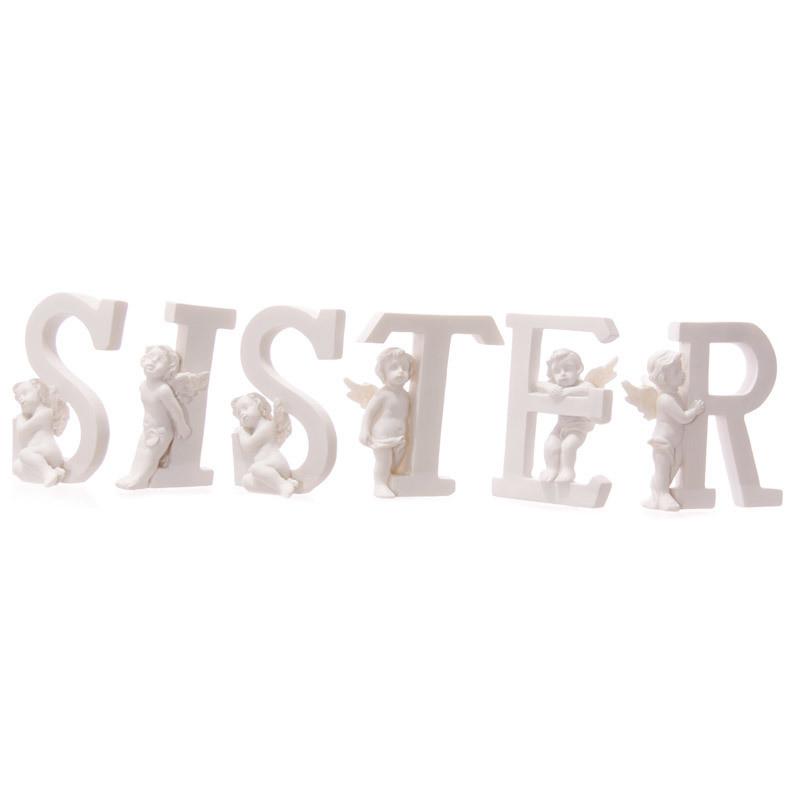 Cute Cherub SISTER Letters Ornament