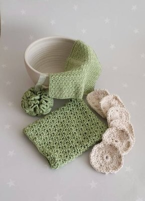 Cotton & Aloe - Crochet bathroom wash set, green cotton pamper set, Handmade face cloth, wash mitt, bath pouf and face scrubbies, eco bath set