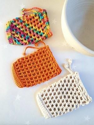 Cotton & Aloe - cotton soap saver, crochet cotton soap bag, exfoliating soap keeper, eco friendly plastic free soap saver, soap sock, shampoo bar bag