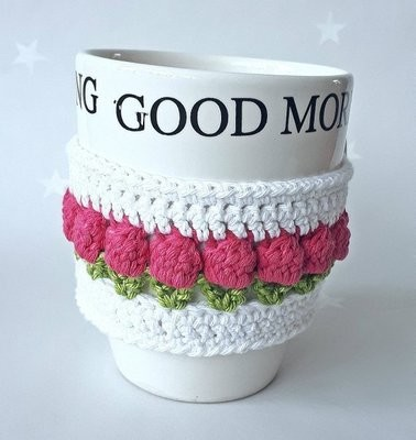 Cotton & Aloe - Tulip cotton mug cosy. Flower mug wrap made with cotton and secures with a button.