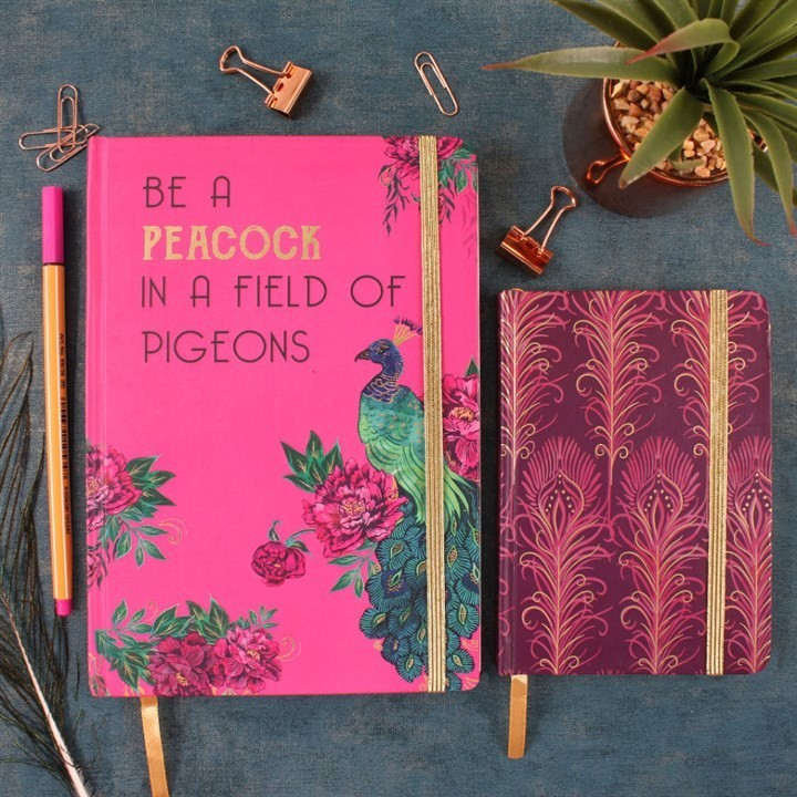LUXURY PURPLE PEACOCK FEATHER A6 NOTEBOOK