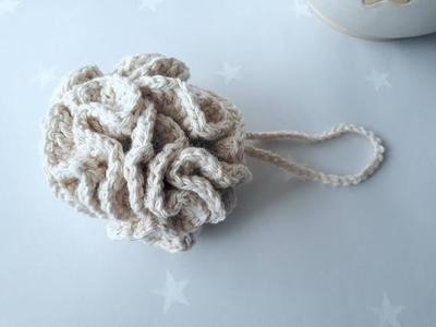 Cotton & Aloe - Cotton shower pouf, made from 100% unbleached undyed cotton,