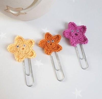 Cotton & Aloe - Starfish paper clips, cute cotton crochet starfish on jumbo paper clips