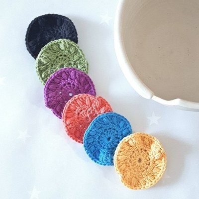Cotton & Aloe - Set of 6 reuseable cotton wool pads for makeup removal, cleansing