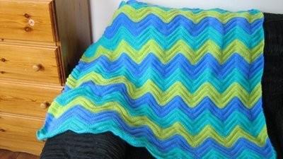 Cotton & Aloe - Crochet pattern for a smooth ripple afghan blanket, beginners crochet pattern, easy pattern in PDF, crochet pattern for DK yarn