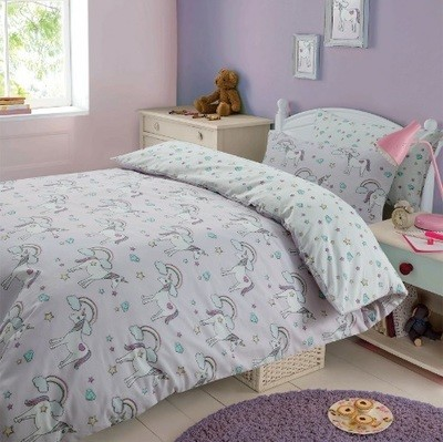 DREAMSCENE MAGICAL UNICORN DUVET COVER SET - PURPLE