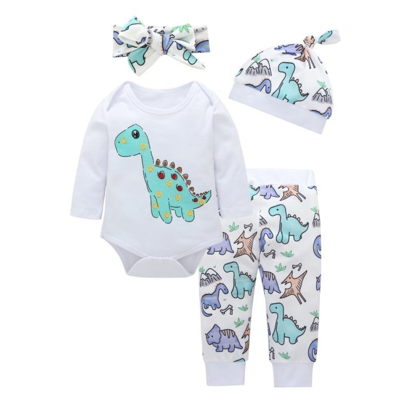 4-Piece Baby Cartoon Dinosaur Clothes Outfits Set Long-sleeved Onesie + Pants +Headband + Hat