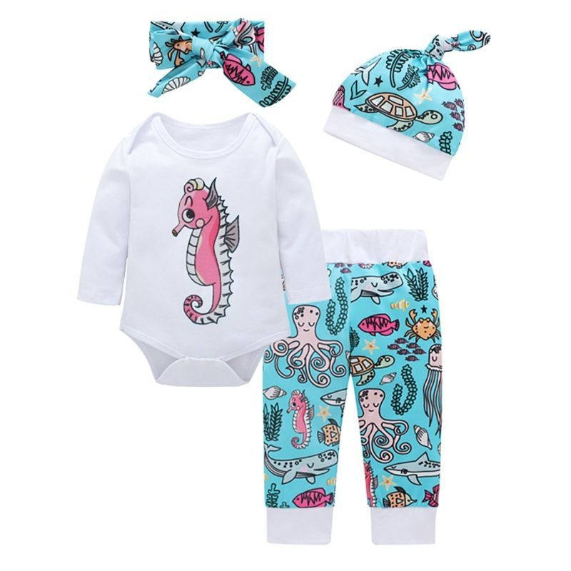 4-Piece Cartoon Underwater World Baby Clothes Outfits Set Long-sleeved Bodysuit + Pants + Headband + Hat  4-Piece Cart