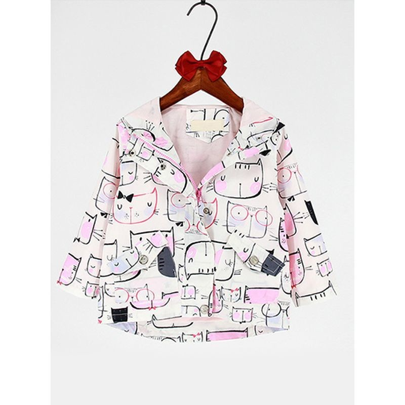 Cats Printed Long-sleeved Windproof Warm Hooded Coat