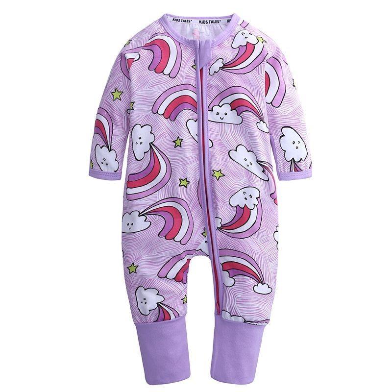 Cartoon Rainbow Long-sleeved Zip Baby Jumpsuit Overalls