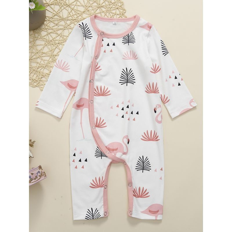 Flamingo Print Long-sleeved Baby Overalls Jumpsuit