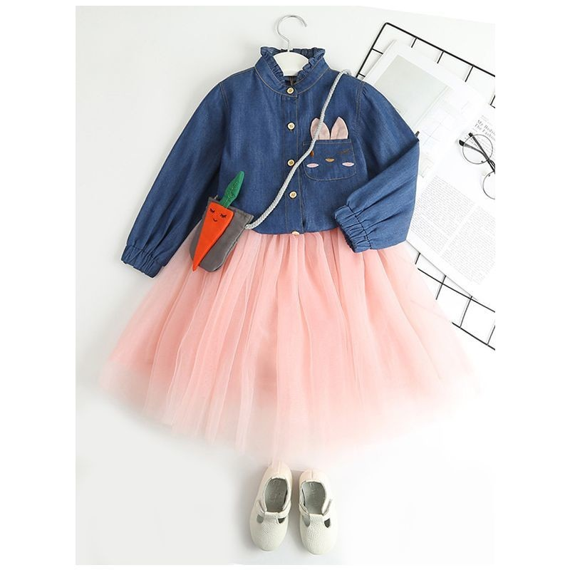 Girls Denim Tulle Patchwork Casual Dress