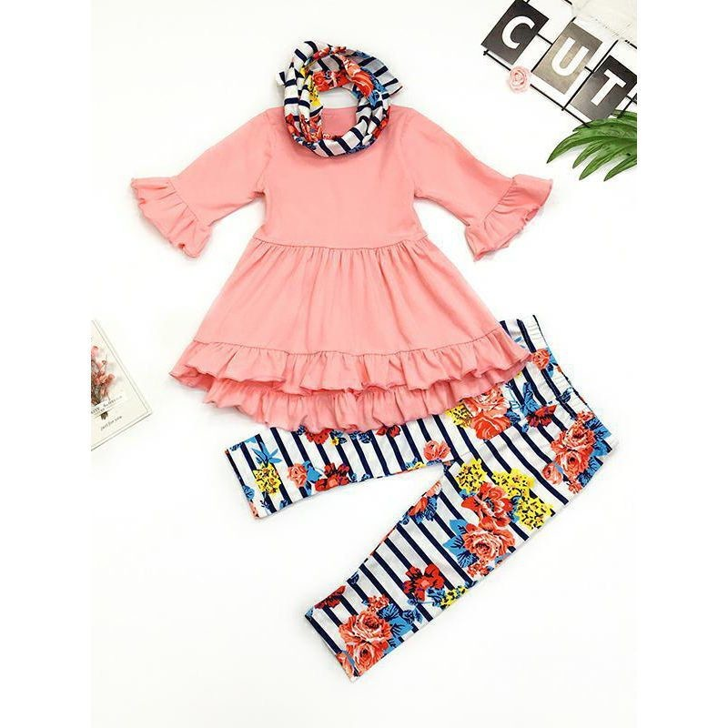Girls Top & Pants &Headband Set Ruffled Pink Dress Set