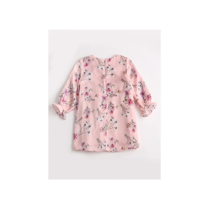 Girl Floral Dress with Ruffle-Cuff