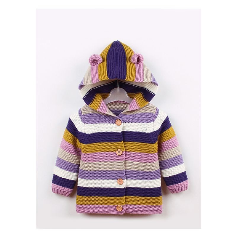 Animal Ear Pattern Color-blocking Hoodie Cardigan