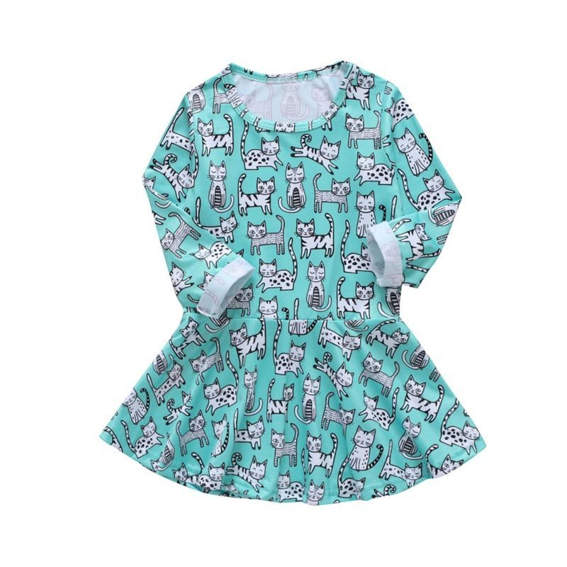 Cat Print Casual Dress