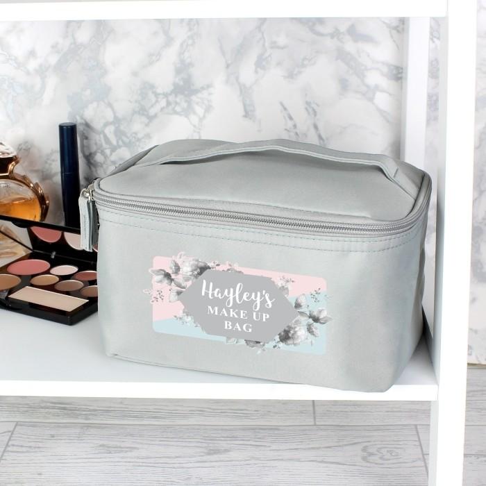 Personalised Floral Grey Make Up Wash Bag