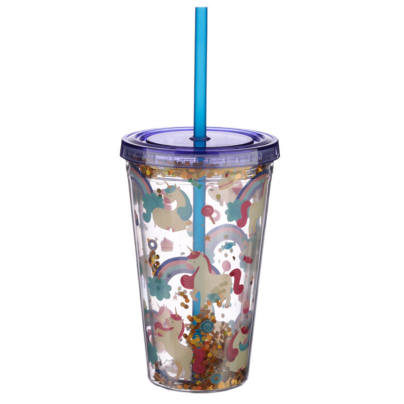 Fun  Design Glitter Double Walled Cup with Lid and Straw