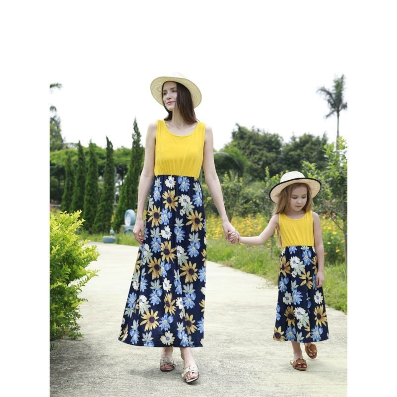 Mum & Me - Summer Patchwork Flower Sleeveless Casual Long Dress