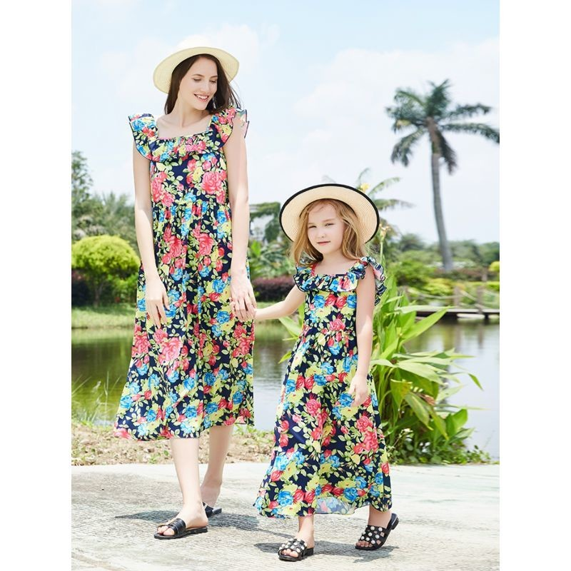Mum and Me - Trendy Flutter Sleeve Floral Dress
