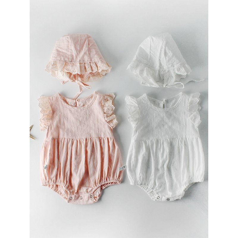 Spanish Style Short Flutter Sleeved Baby Romper with Frilled Hat